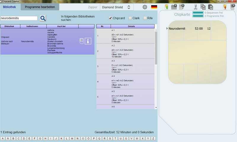 Screenshot der PC-Software Chipcard-Creator
