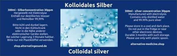 Vorschau: Kolloidales Silber aus Elektrolyse - Etikett deutsch und englisch
