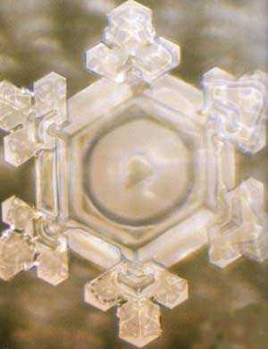 Bild eines wunderschönen sechsstrahligen Wasserkristalls